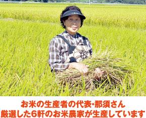 お米の生産者の代表・那須さん 厳選した6件のお米農家が生産しています